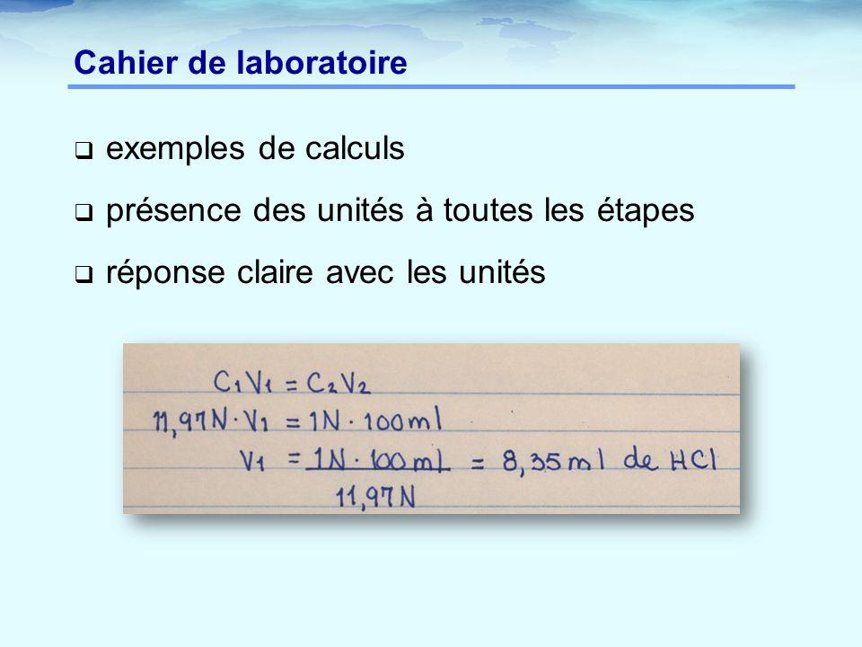 Cahier de laboratoire exemples de calculs. présence des unités à toutes les étapes.