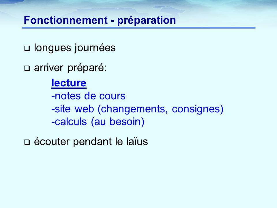 Fonctionnement - préparation
