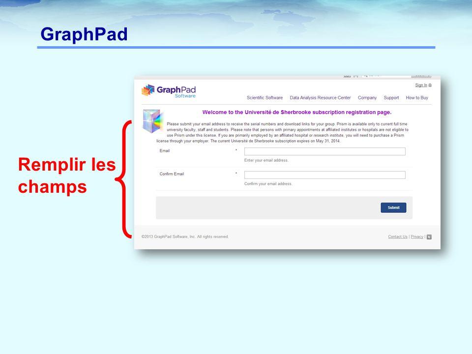 GraphPad Remplir les champs