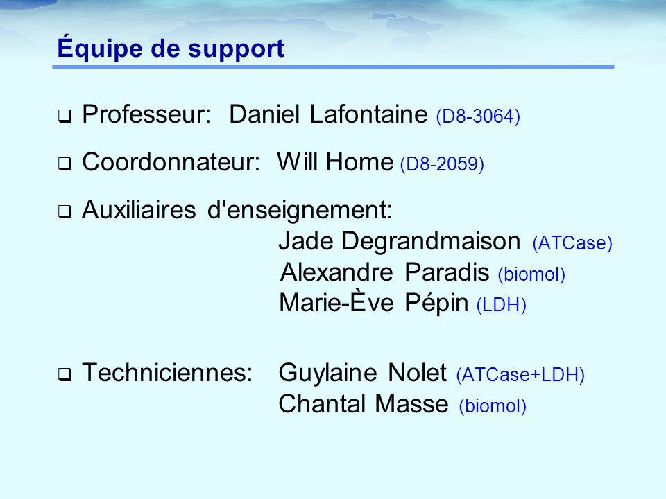 Équipe de support Professeur: Daniel Lafontaine (D8-3064) Coordonnateur: Will Home (D8-2059)