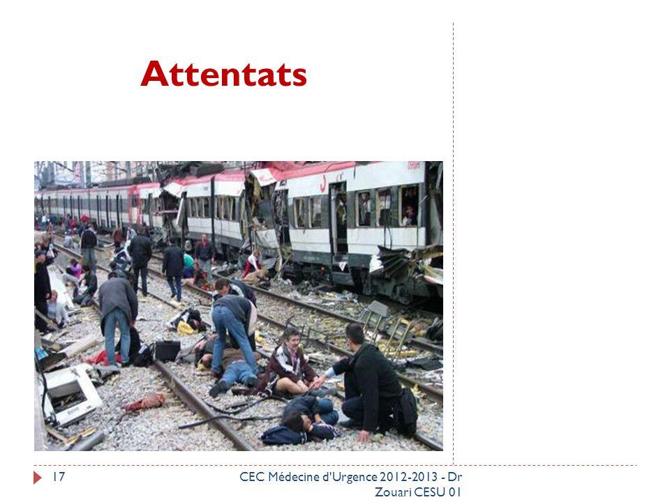 Attentats CEC Médecine d Urgence 2012-2013 - Dr Zouari CESU 01