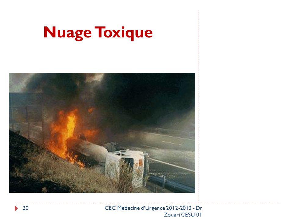 Nuage Toxique CEC Médecine d Urgence 2012-2013 - Dr Zouari CESU 01