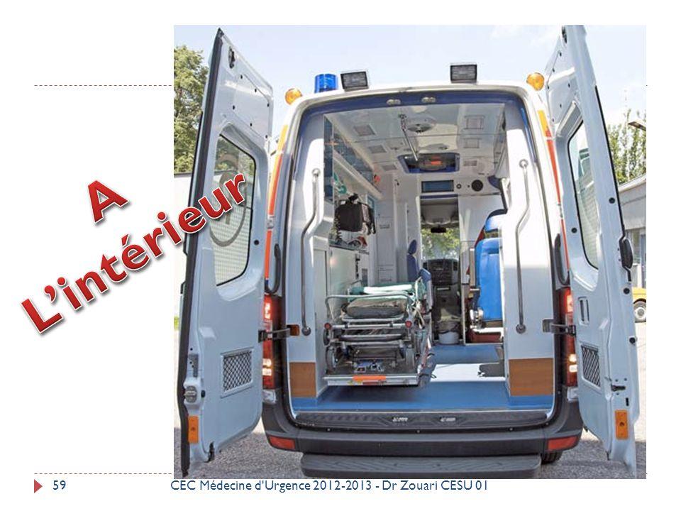 L'intérieur A CEC Médecine d Urgence 2012-2013 - Dr Zouari CESU 01