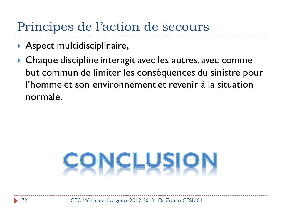 Principes de l'action de secours