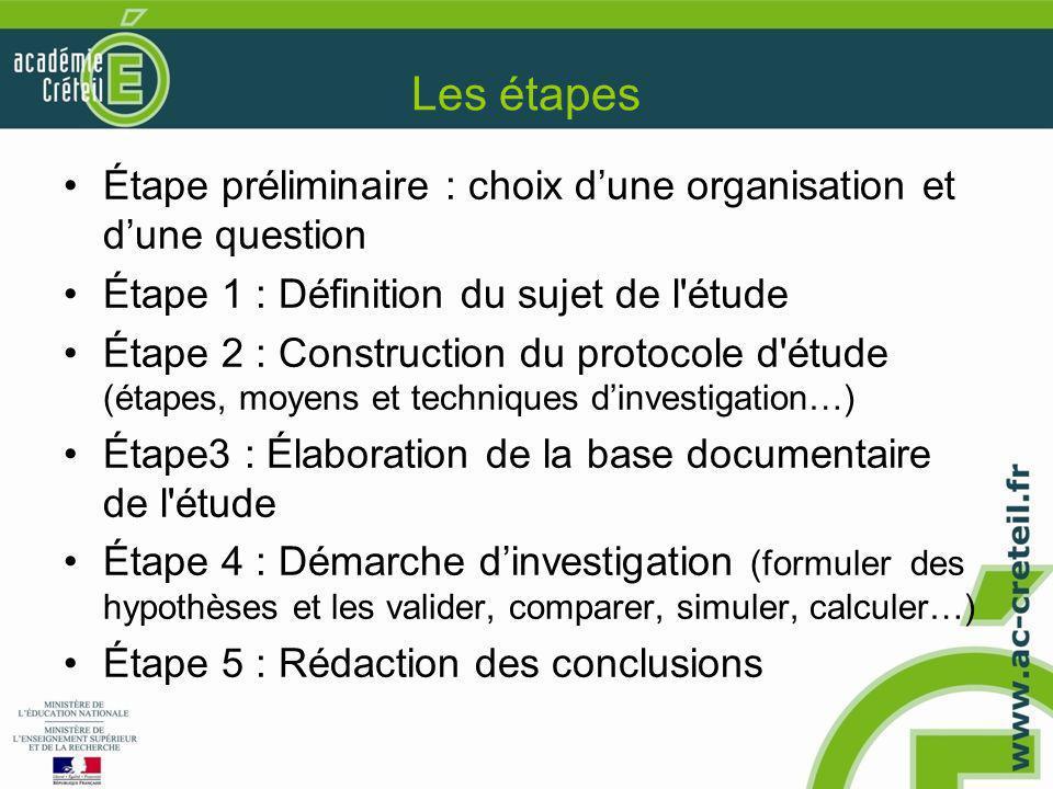 Les étapes Étape préliminaire : choix d'une organisation et d'une question. Étape 1 : Définition du sujet de l étude.
