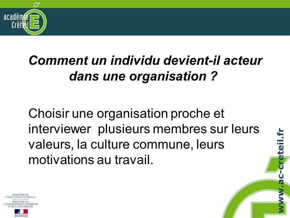 Comment un individu devient-il acteur dans une organisation