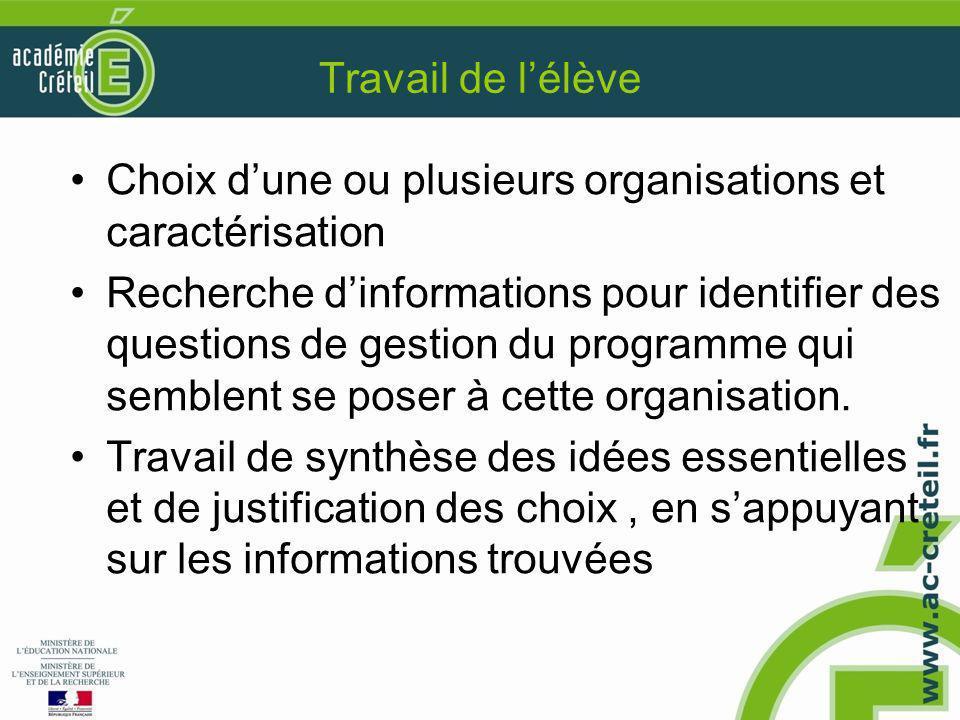 Travail de l'élève Choix d'une ou plusieurs organisations et caractérisation.