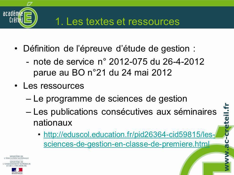 1. Les textes et ressources