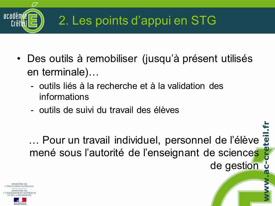 2. Les points d'appui en STG