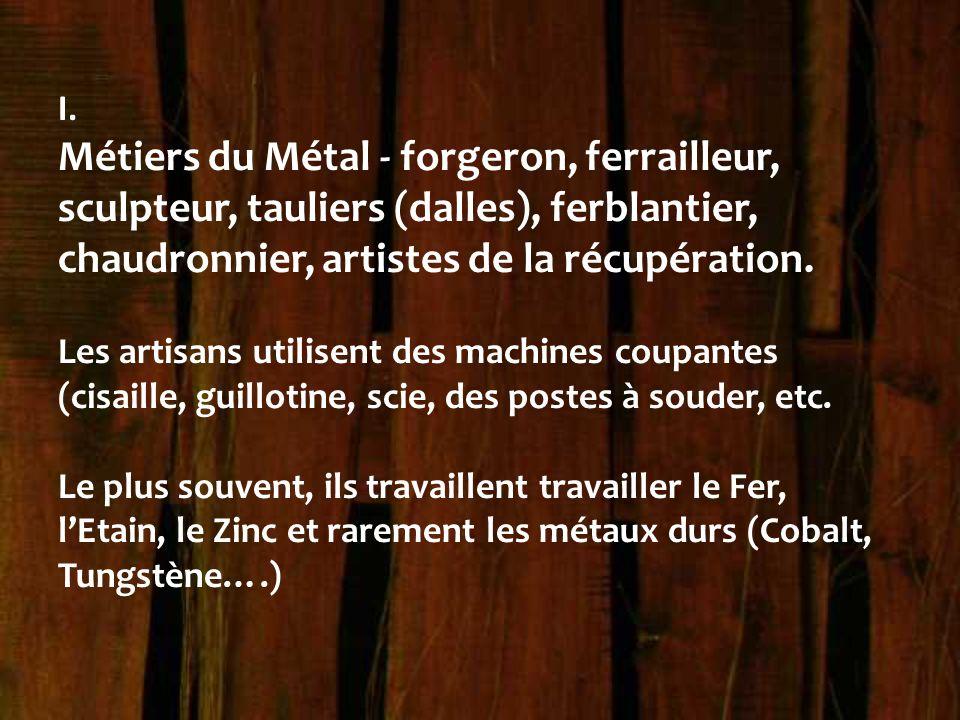 I. Métiers du Métal - forgeron, ferrailleur, sculpteur, tauliers (dalles), ferblantier, chaudronnier, artistes de la récupération.