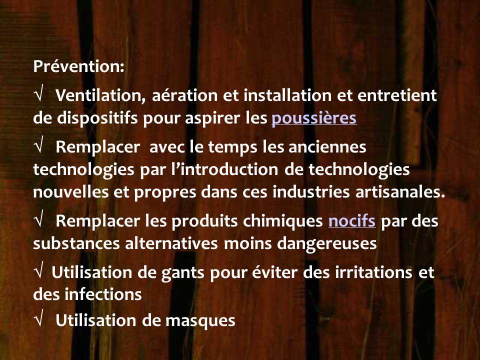 Prévention:  Ventilation, aération et installation et entretient de dispositifs pour aspirer les poussières.
