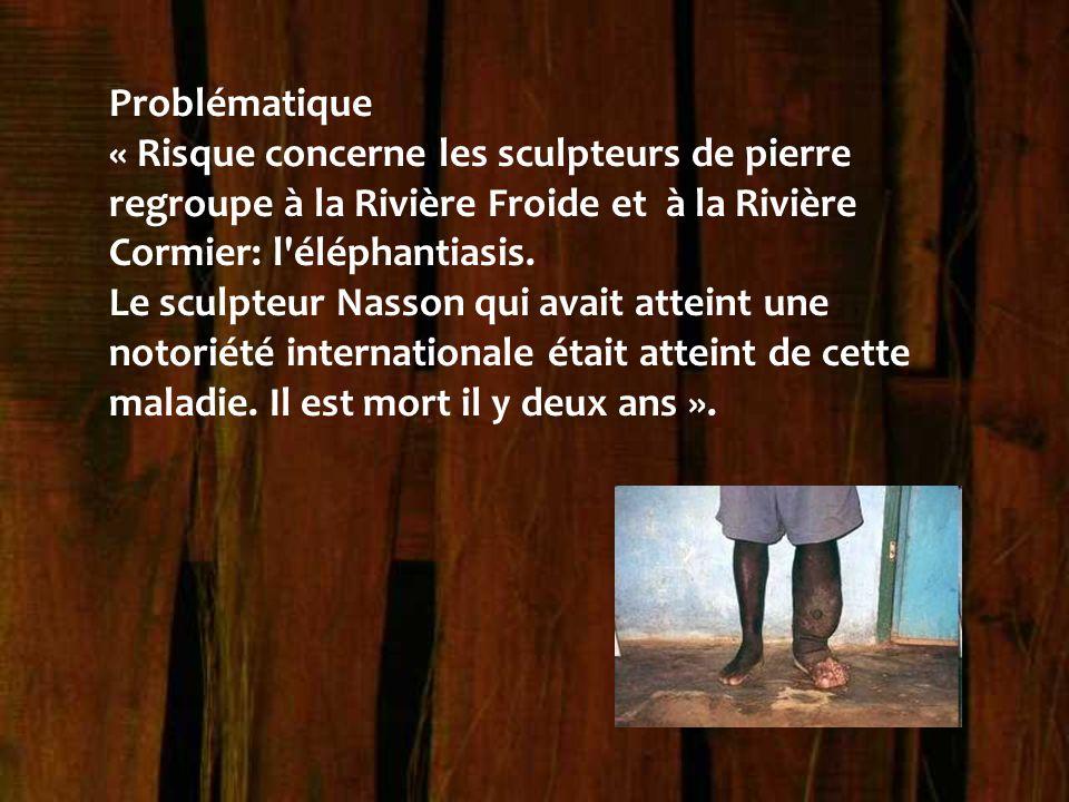 Problématique « Risque concerne les sculpteurs de pierre regroupe à la Rivière Froide et à la Rivière Cormier: l éléphantiasis.