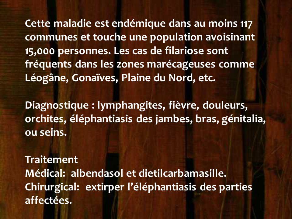 Cette maladie est endémique dans au moins 117 communes et touche une population avoisinant 15,000 personnes. Les cas de filariose sont fréquents dans les zones marécageuses comme Léogâne, Gonaïves, Plaine du Nord, etc.