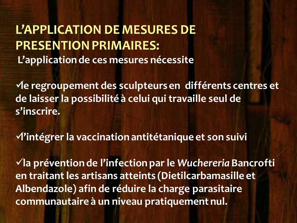 L'APPLICATION DE MESURES DE PRESENTION PRIMAIRES: