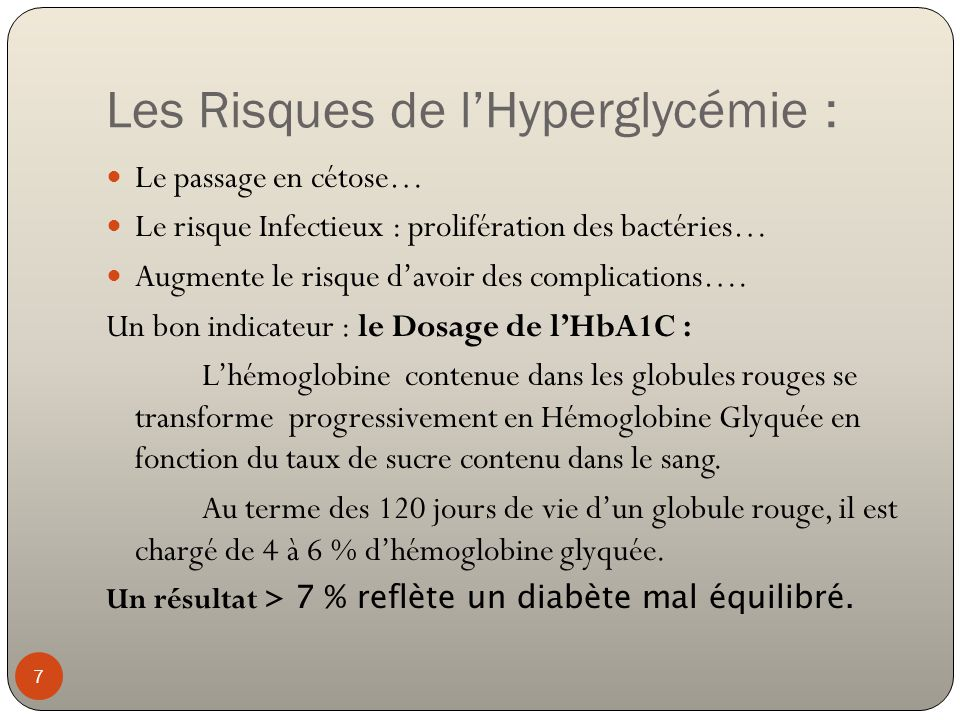Les Risques de l'Hyperglycémie :