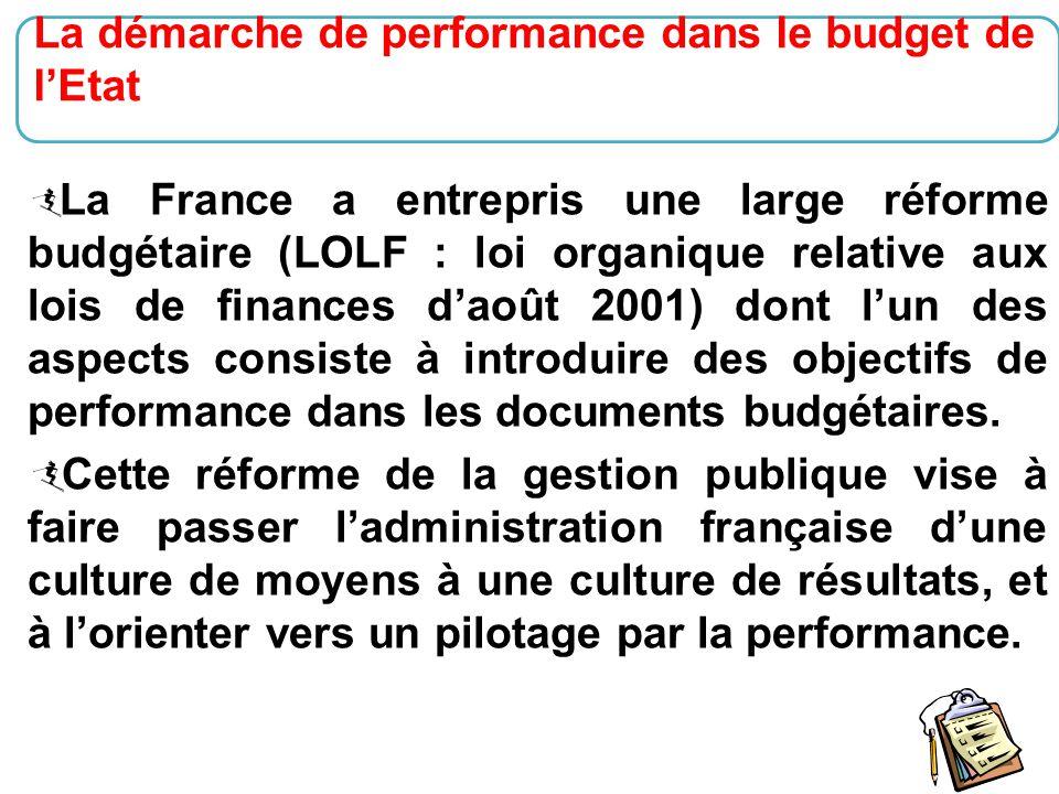 La démarche de performance dans le budget de l'Etat
