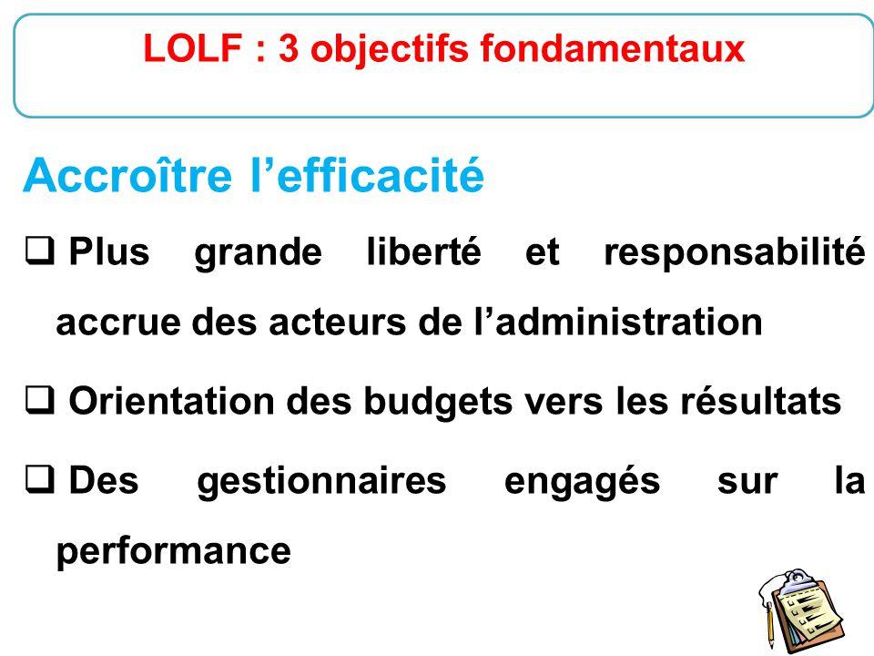 LOLF : 3 objectifs fondamentaux