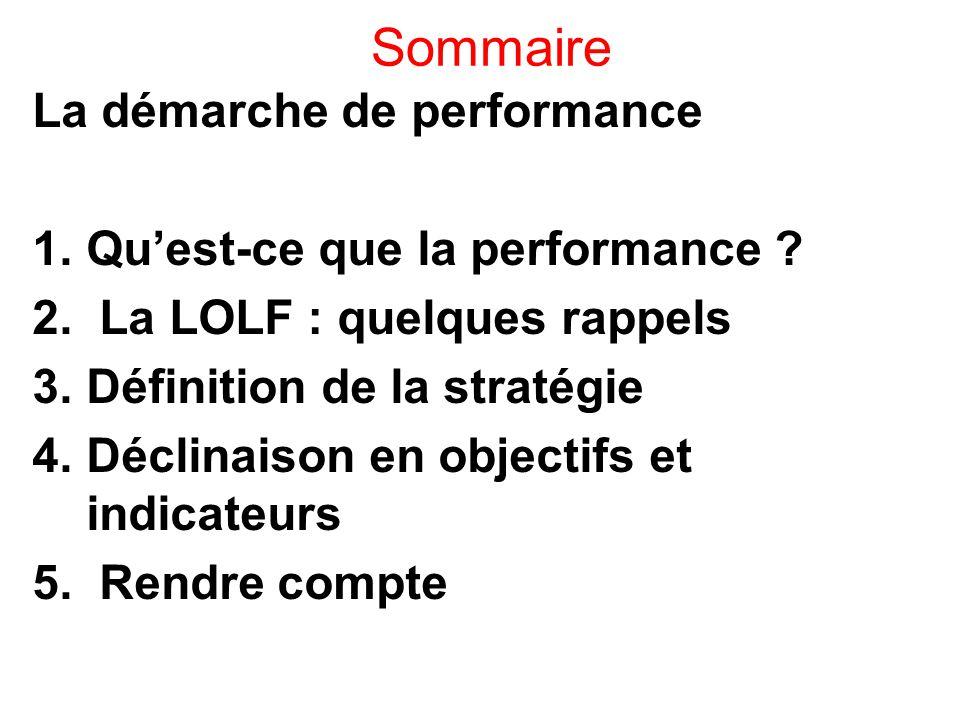 Sommaire La démarche de performance Qu'est-ce que la performance
