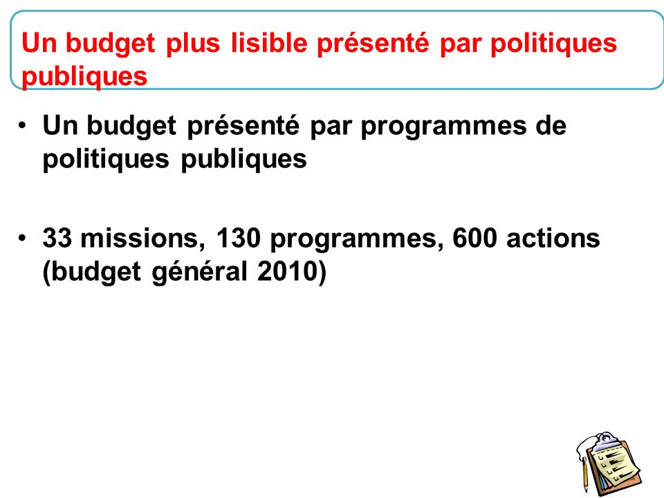 Un budget plus lisible présenté par politiques publiques