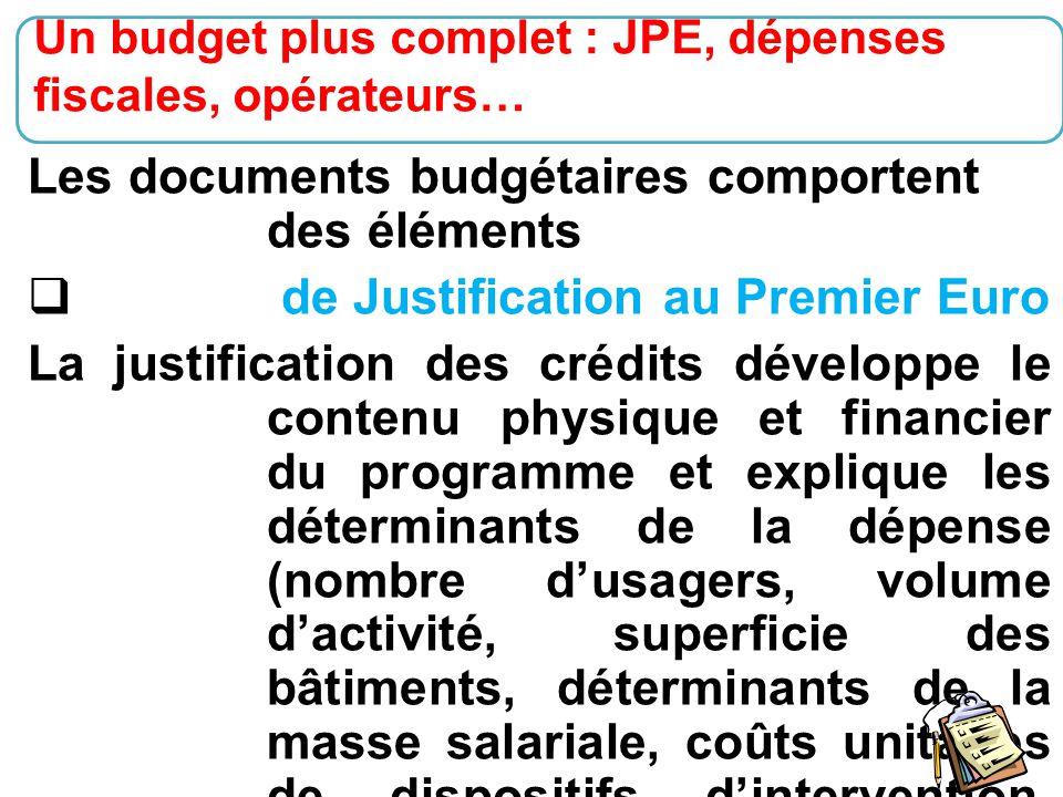 Les documents budgétaires comportent des éléments