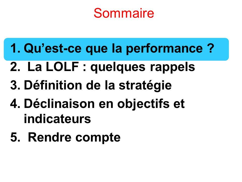 Sommaire Qu'est-ce que la performance La LOLF : quelques rappels