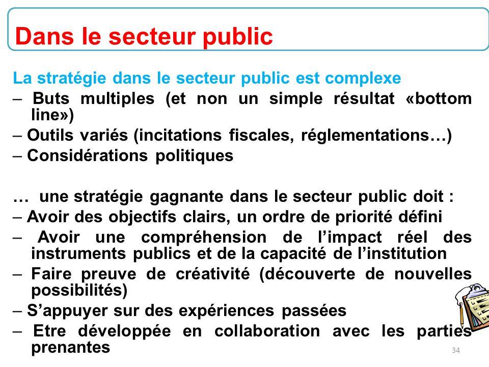 Dans le secteur public La stratégie dans le secteur public est complexe. – Buts multiples (et non un simple résultat «bottom line»)