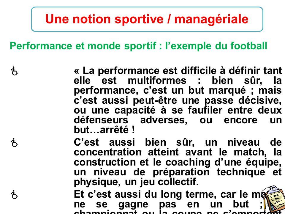 Une notion sportive / managériale
