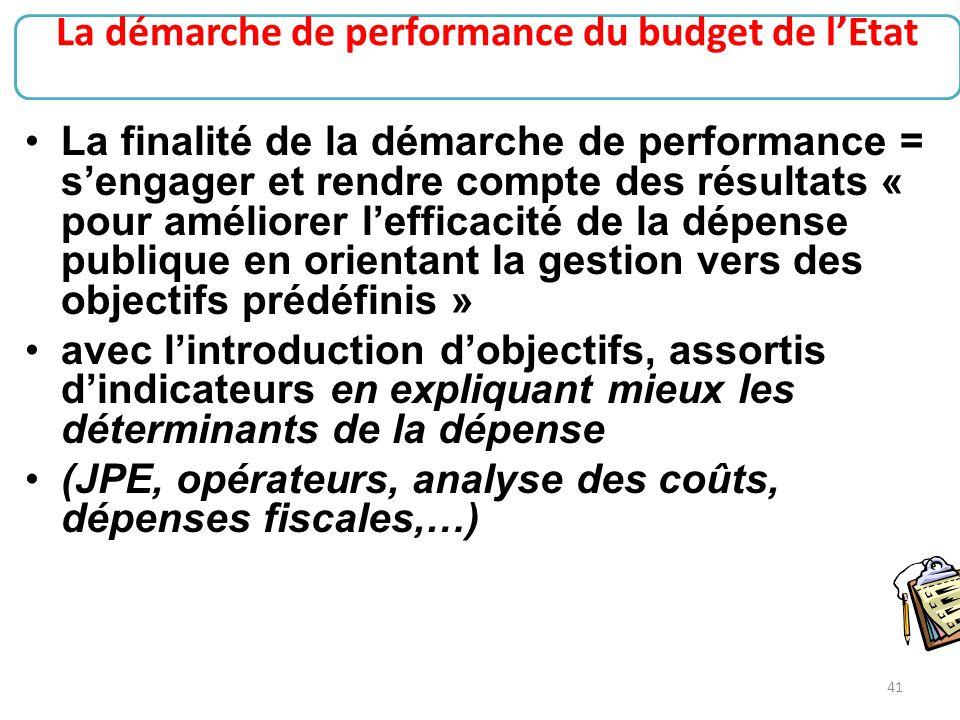 La démarche de performance du budget de l'Etat