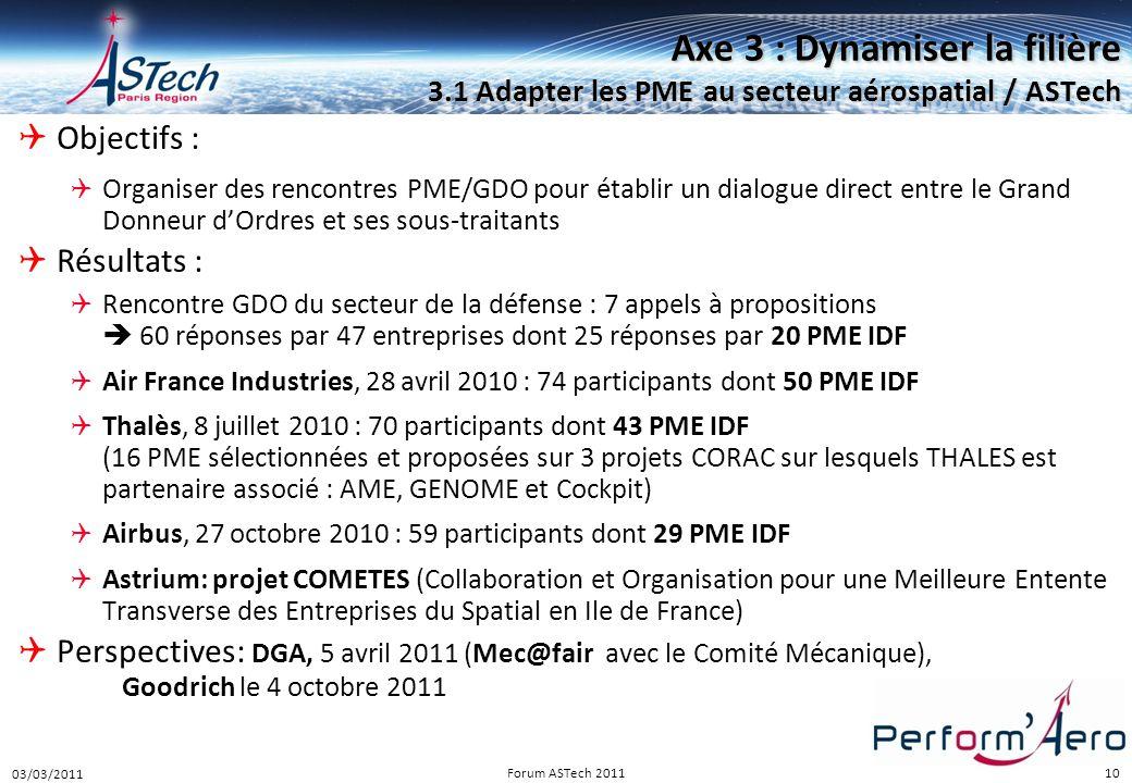 Perform Aéro 16/12/2010. Axe 3 : Dynamiser la filière 3.1 Adapter les PME au secteur aérospatial / ASTech.