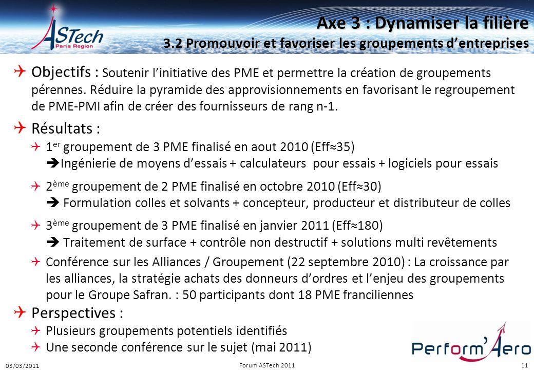 Perform Aéro 16/12/2010. Axe 3 : Dynamiser la filière 3.2 Promouvoir et favoriser les groupements d'entreprises.