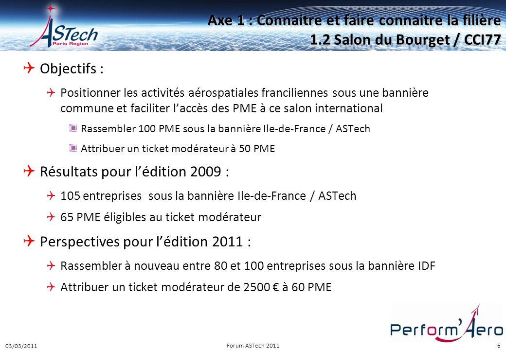 Perform Aéro 16/12/2010. Axe 1 : Connaitre et faire connaitre la filière 1.2 Salon du Bourget / CCI77.