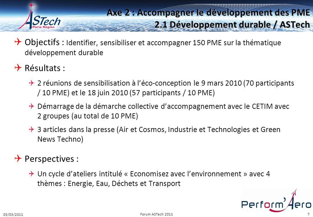 Perform Aéro 16/12/2010. Axe 2 : Accompagner le développement des PME 2.1 Développement durable / ASTech.
