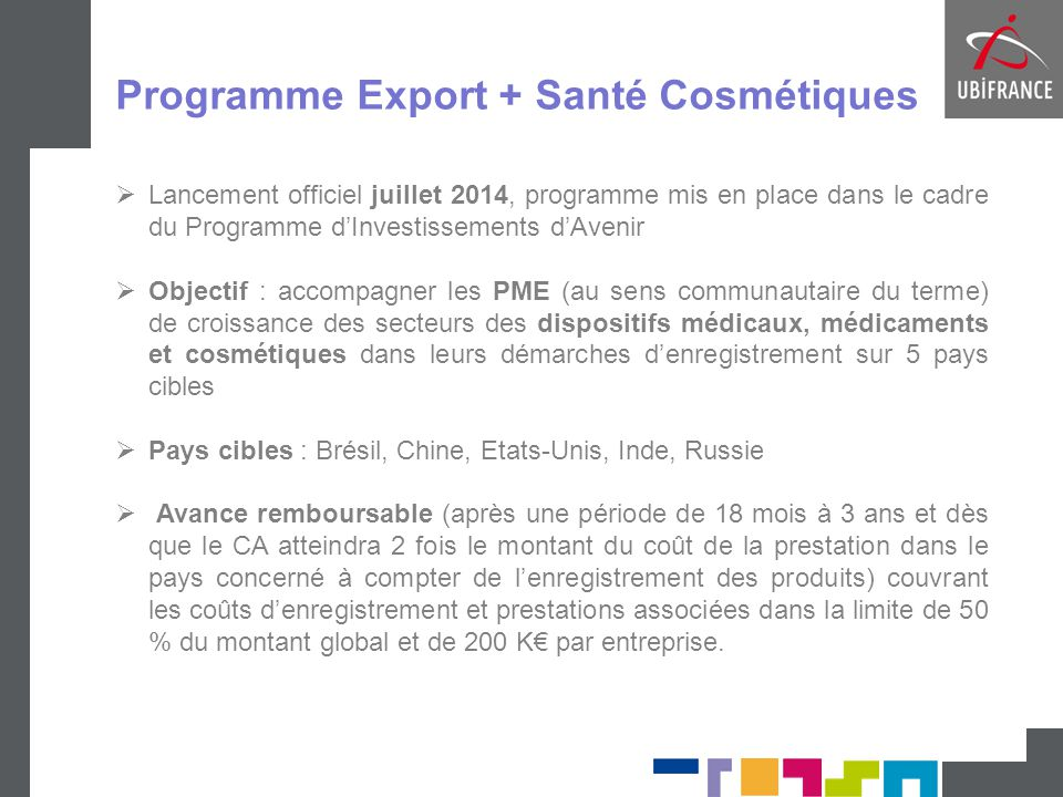 Programme Export + Santé Cosmétiques