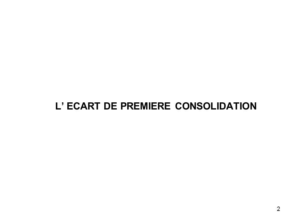 L' ECART DE PREMIERE CONSOLIDATION