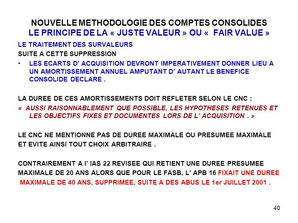 NOUVELLE METHODOLOGIE DES COMPTES CONSOLIDES LE PRINCIPE DE LA « JUSTE VALEUR » OU « FAIR VALUE »