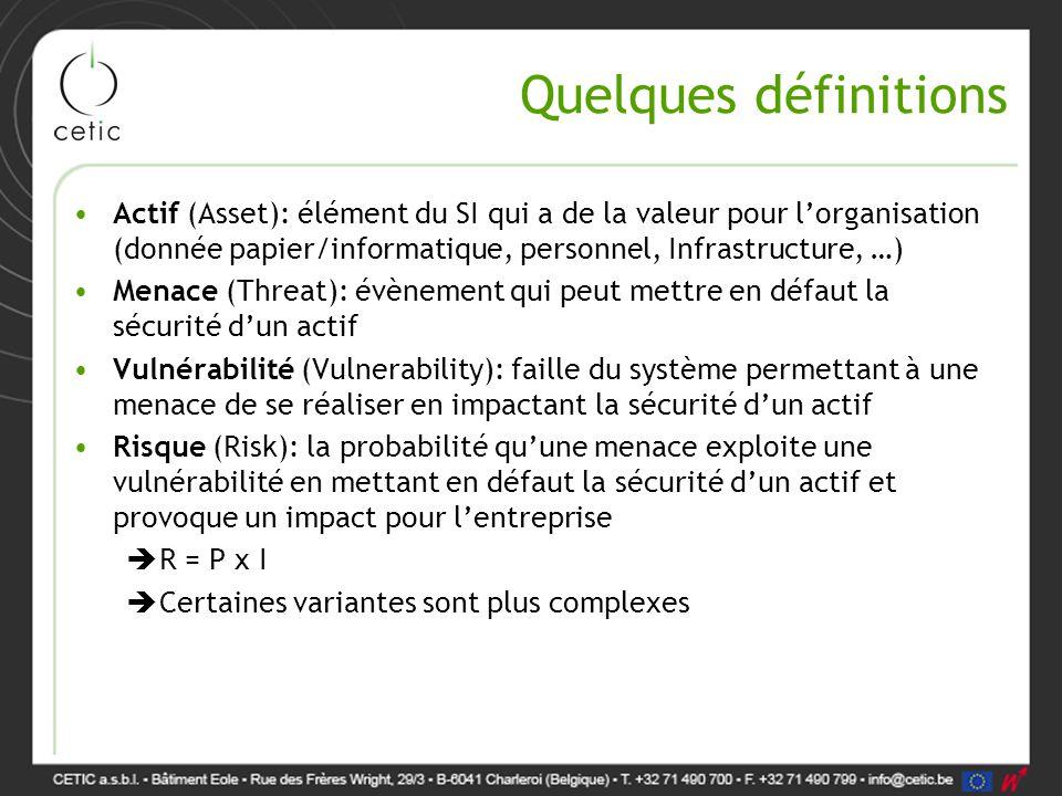 Quelques définitions Actif (Asset): élément du SI qui a de la valeur pour l'organisation (donnée papier/informatique, personnel, Infrastructure, …)