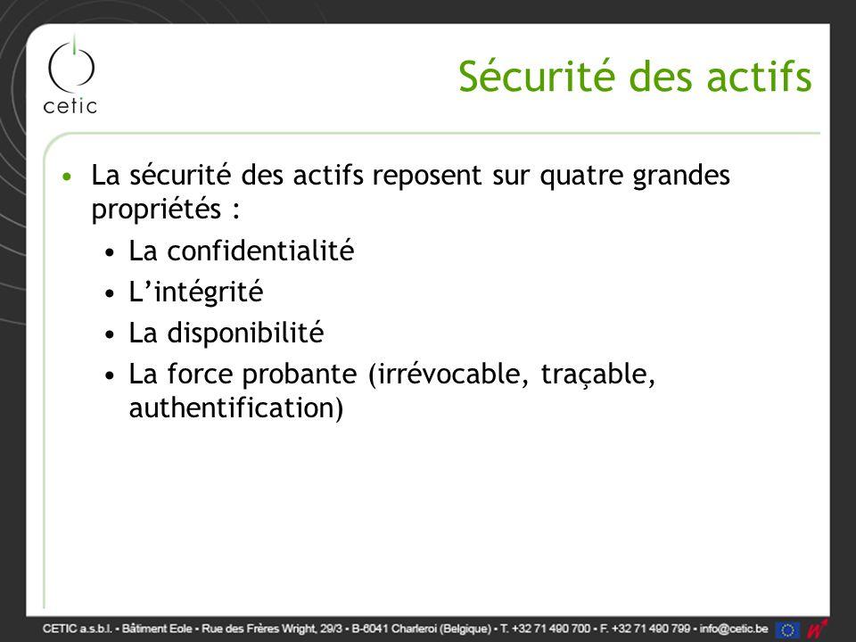 Sécurité des actifs La sécurité des actifs reposent sur quatre grandes propriétés : La confidentialité.