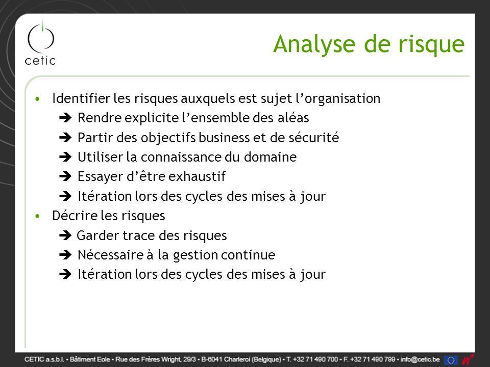 Analyse de risque Identifier les risques auxquels est sujet l'organisation. Rendre explicite l'ensemble des aléas.