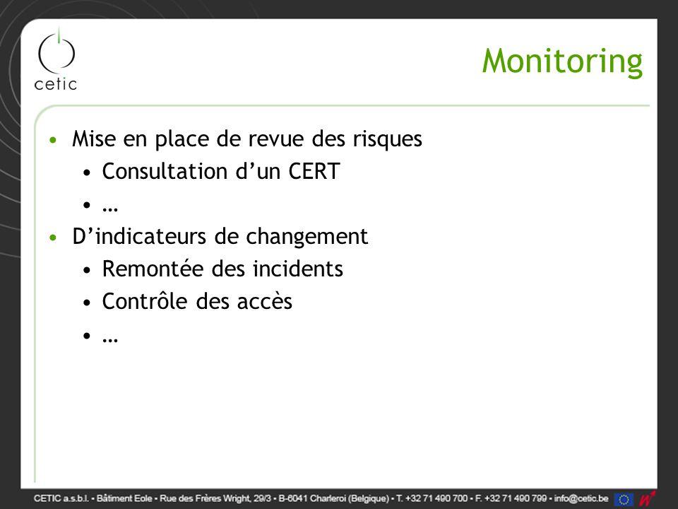 Monitoring Mise en place de revue des risques Consultation d'un CERT …