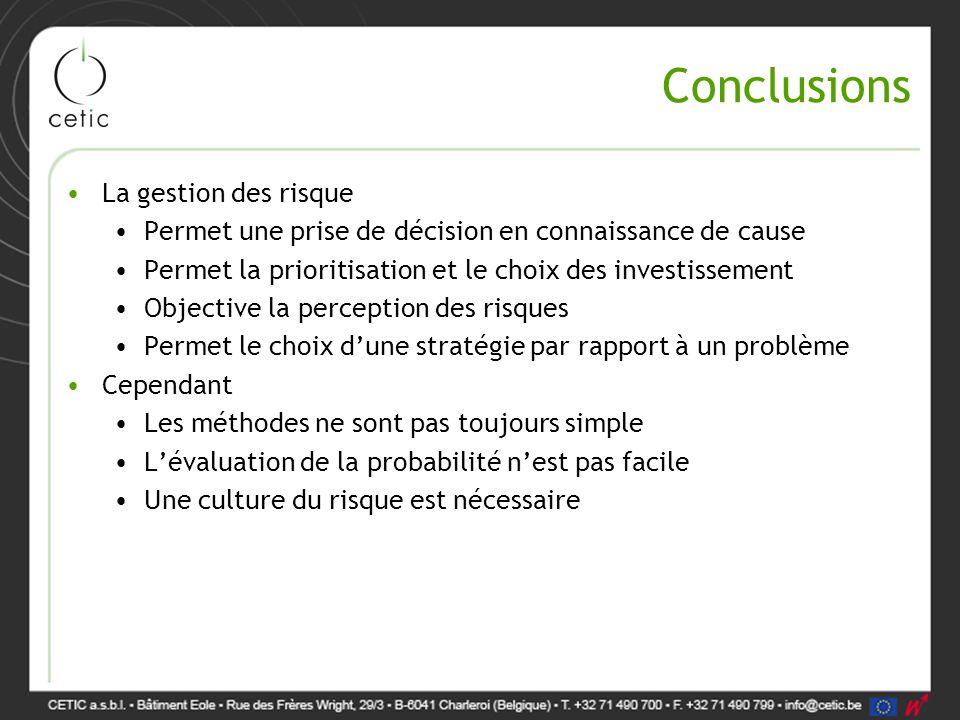 Conclusions La gestion des risque