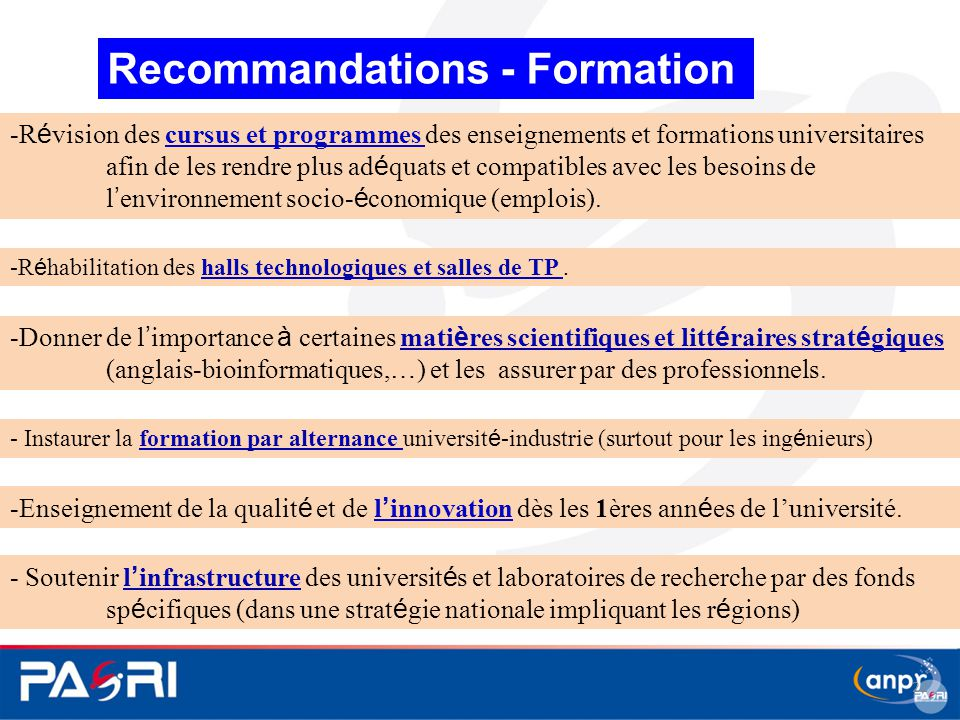 Recommandations - Formation