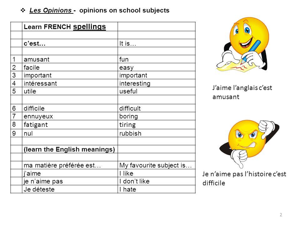 J'aime l'anglais c'est amusant