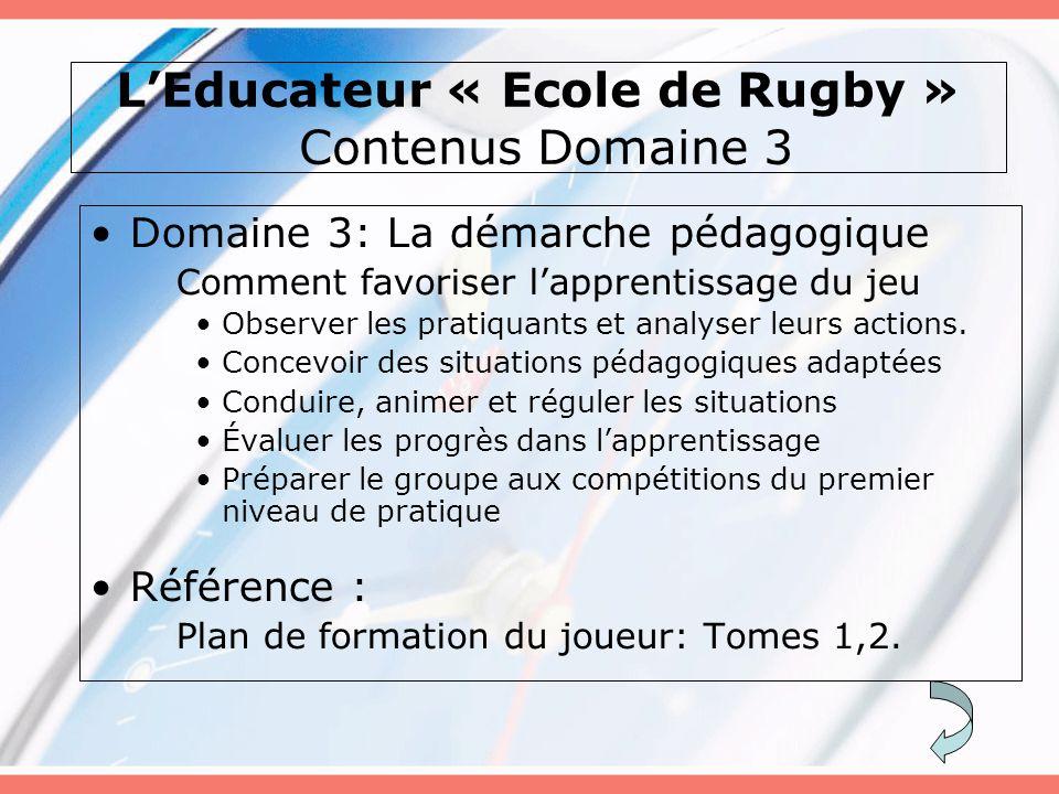 L'Educateur « Ecole de Rugby » Contenus Domaine 3