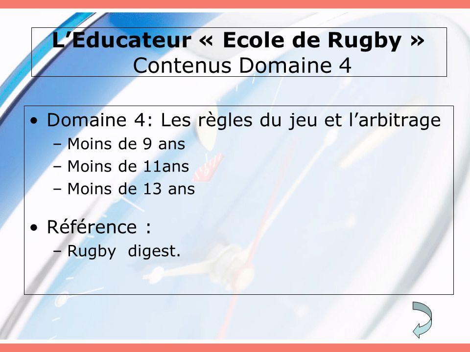 L'Educateur « Ecole de Rugby » Contenus Domaine 4