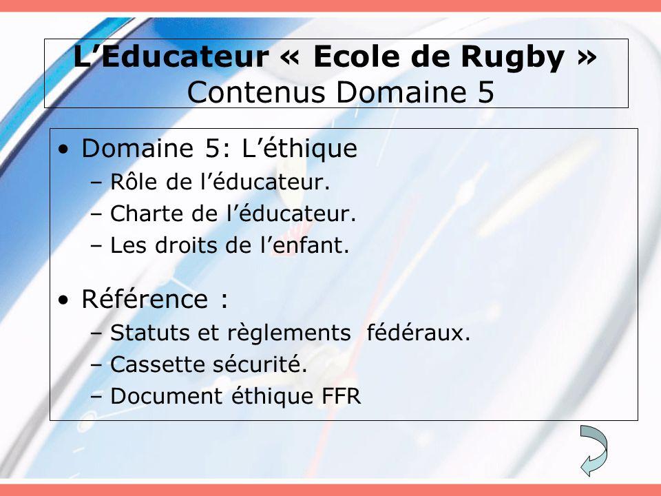 L'Educateur « Ecole de Rugby » Contenus Domaine 5