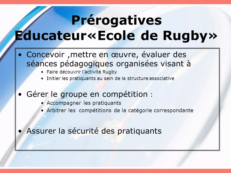Prérogatives Educateur«Ecole de Rugby»