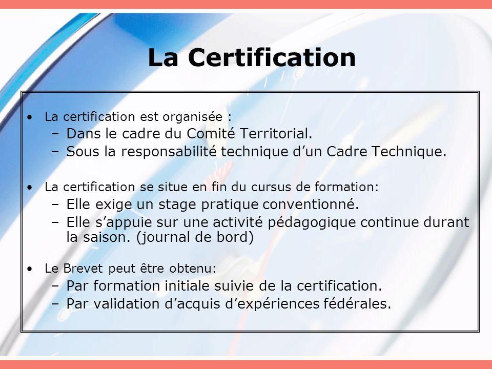 La Certification Dans le cadre du Comité Territorial.