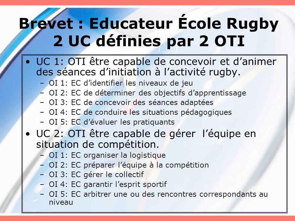 Brevet : Educateur École Rugby 2 UC définies par 2 OTI