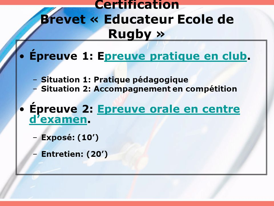 Certification Brevet « Educateur Ecole de Rugby »