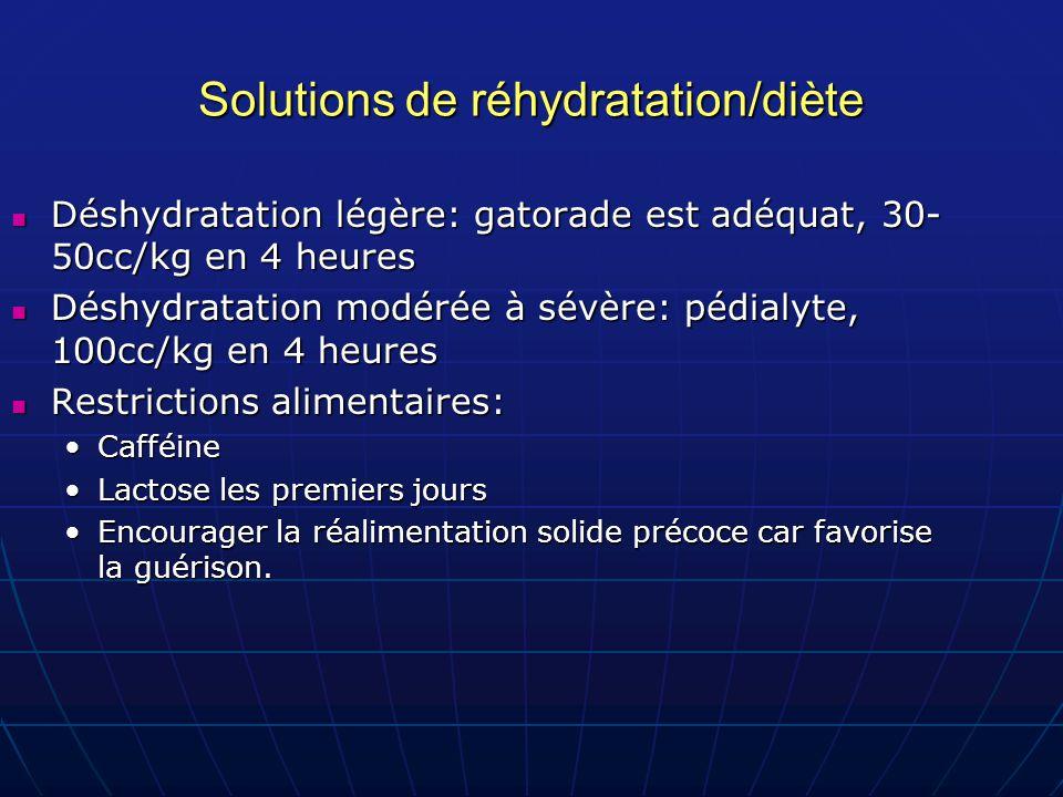 Solutions de réhydratation/diète